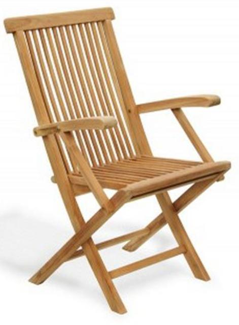 Klappstuhl mit Armlehnen aus Teakholz I Folding chair with armrests in teak